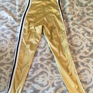 Pants - Gold track suit legging pants